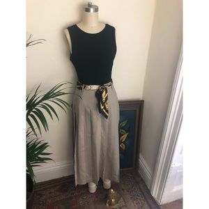 Vintage-Pleated-High Waisted-Linen Skirt